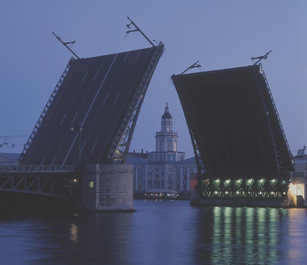 Разведённый Дворцовый мост. Вид на Кунсткамеру